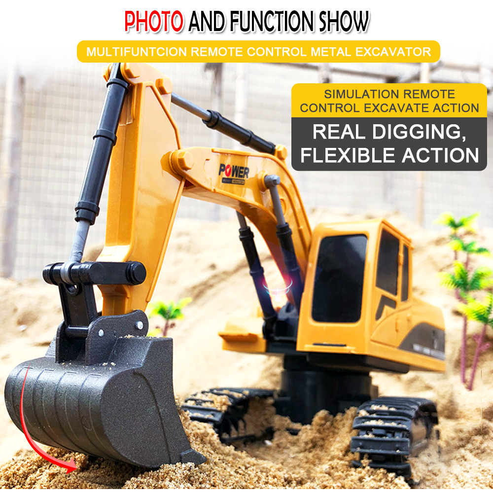 2.4Ghz 6CH 1:24 RC Excavator Mini RC Truck Rechargeable Simulated Excavator Gift  alloy_1:24