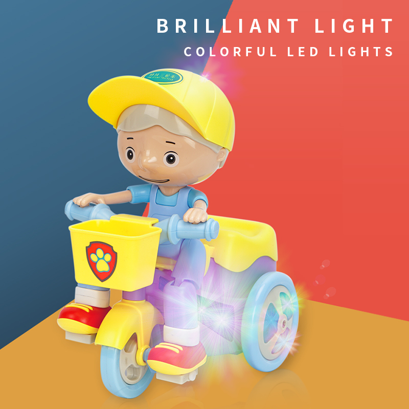 Children Electric Stunt Tricycle Universal Crane Head 360 Degree Rotation Music Lighting Car Educational Toy yellow