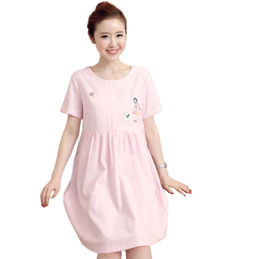 Women Summer Maternity Dress Cotton Short-sleeve Mid-length Dress Pink_XL