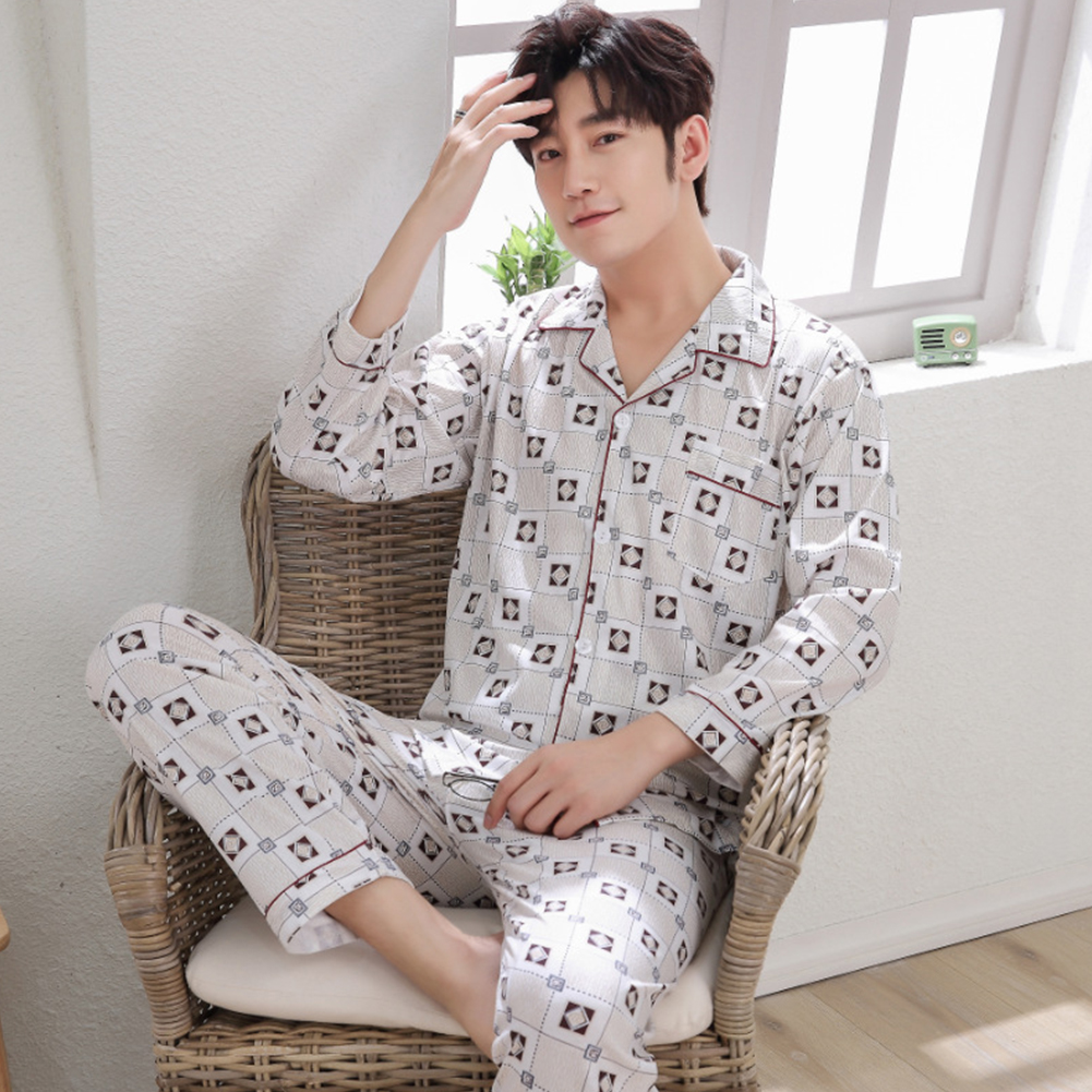 Men Winter Spring and Autumn Cotton Long Sleeve Casual Home Wear Pajamas Homewear 8801 red_XL