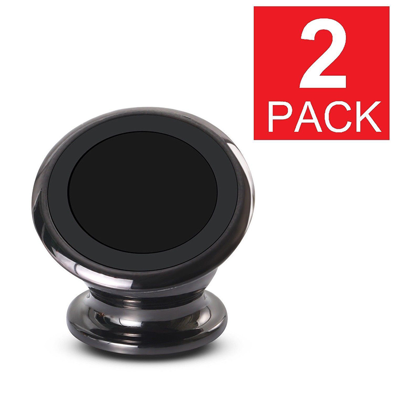 [Indonesia Direct] 2 Pcs Universal 360 Degree Magnetic Car Mount Dashboard Holder for Cell Phone  black
