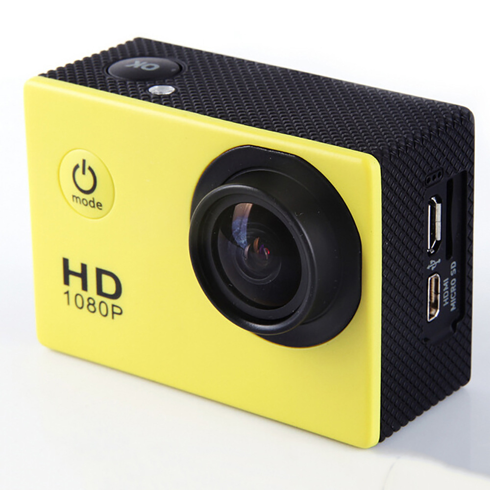 F23 Outdoor Action Camera - 2.0 Screen, HD Wide Angle, Waterproof Sports Camera, DV Video Camcorder - Yellow