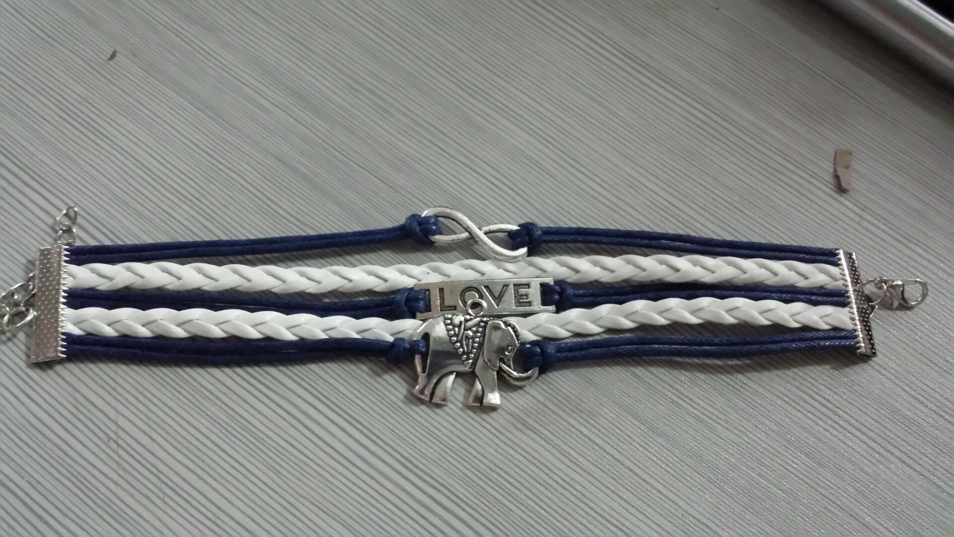 Mother`s Day Gift--BlueTop(TM) Love Silver Infinity Elephant Leather Rope Cross Bracelet White and Blue