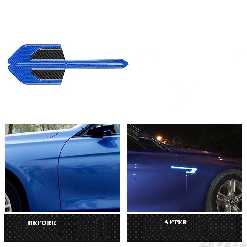 Door Guard Reflective Carbon Fiber Molding Accent Trim 2019-2021 Blue