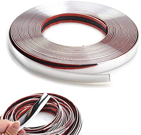 Car Styling Chrome Decorative Strips Front Rear Fog Light Trim Cover Molding Frame Decoration Protector Silver_12mm*5m/roll