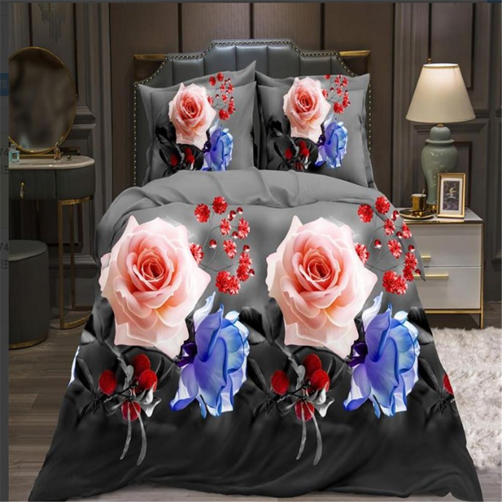 4Pcs/Set 3D Printed Duvet Cover Bed Sheet Pillowcase Set for Home Bedroom 2*2.3m