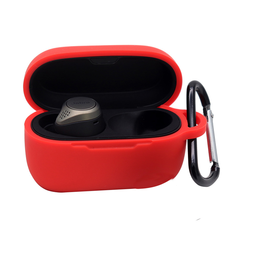 Silicone Anti-fall Earphone Case Protective Cover Shell for Jabra-Elite 75t red