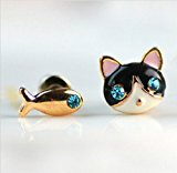 [EU Direct] OYang Cute Cat and Fish Stud Earring