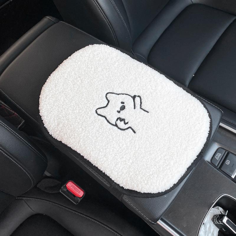 Car Cartoon Lamb Wool Seat Cushion Car  Cute Backrest Comfortable Soft Breathable Seat Armrest Cushion  Piggy armrest pad