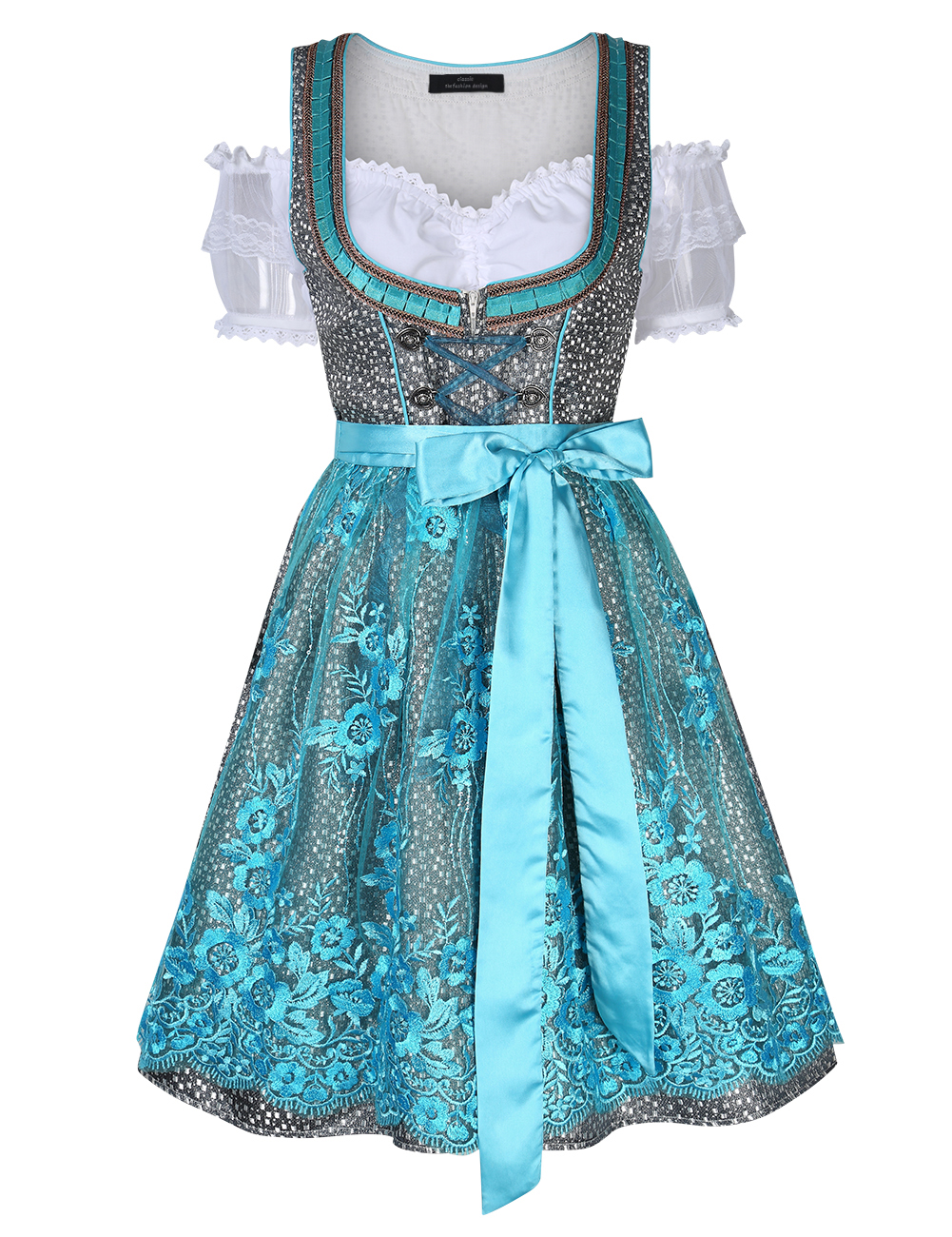 [EU Direct] Women's Oktoberfest Sexy Lace Floral Lace Up Tie Pleated Layered Dress Suit
