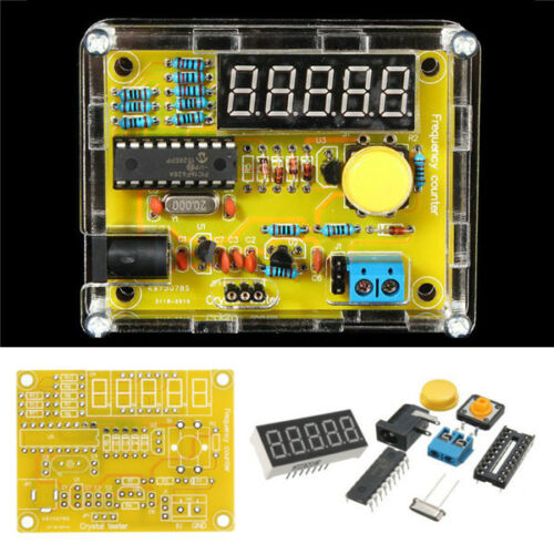 DIY Kits 1Hz-50MHz Crystal Oscillator Tester Frequency Counter Meter with Case yellow