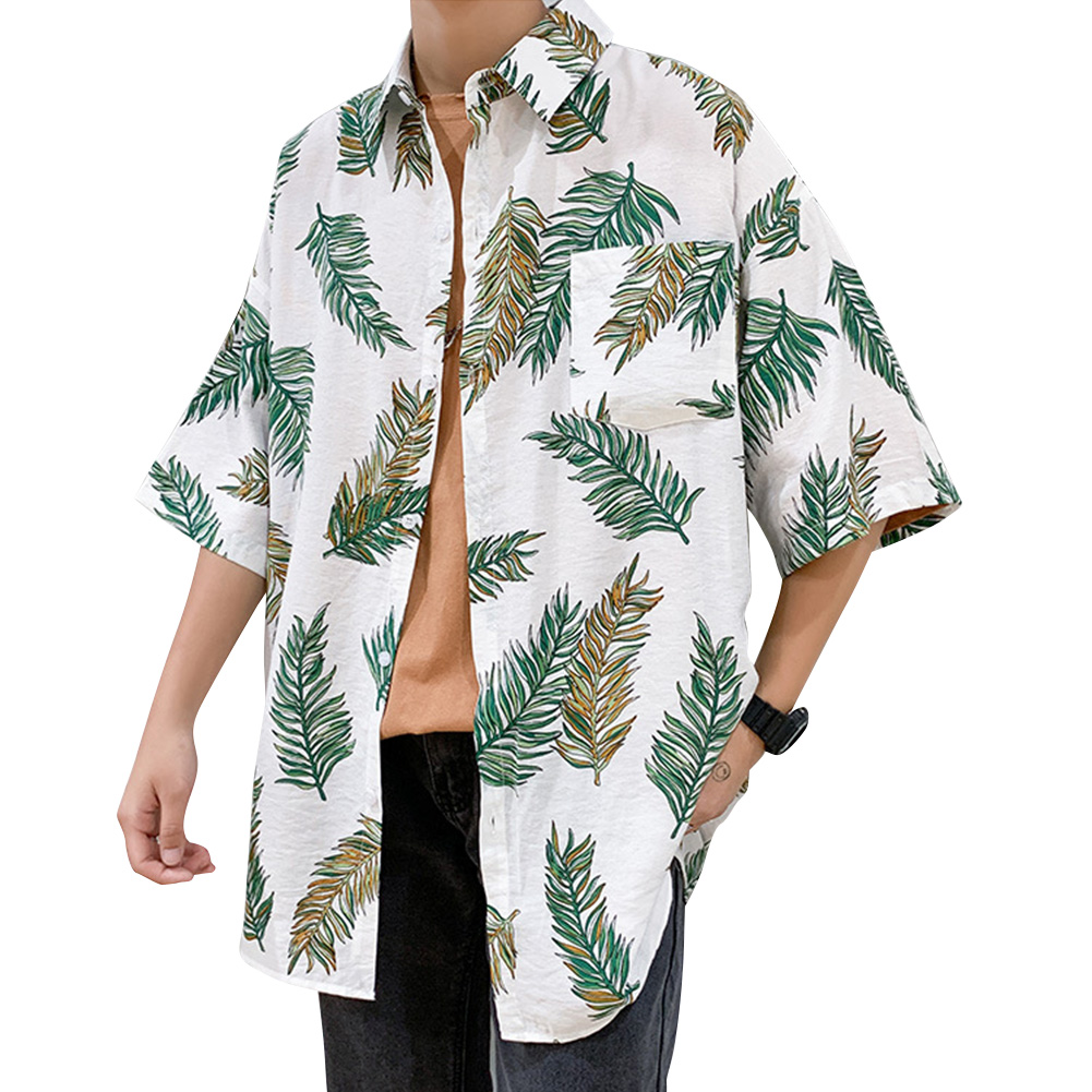 Women Men Leisure Shirt Personality Floral Printing Short Sleeve Retro Hawaii Beach Shirt Top Summer C106 #_M