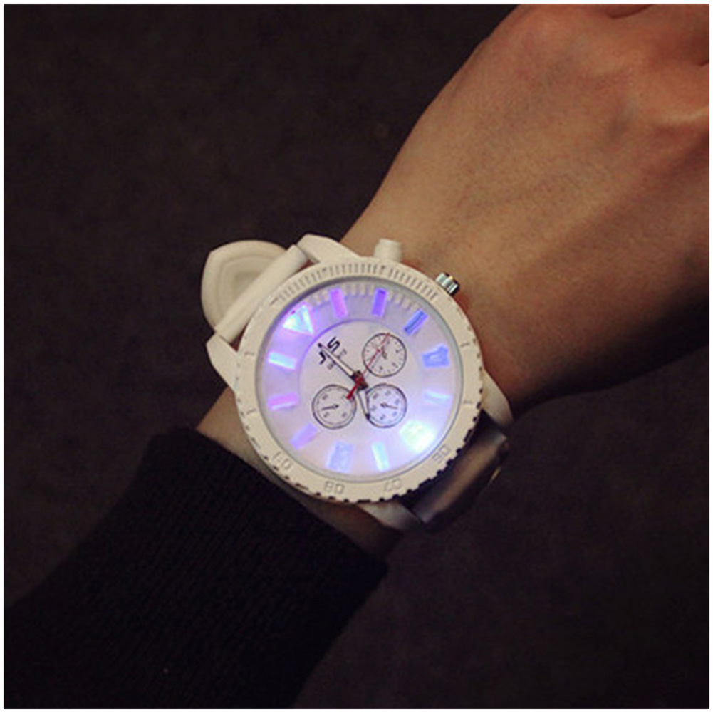 [EU Direct] 1 Pcs Couple Watch Luminous Round Dial Clock Quartz Watches with Silicone Strap for Men and Women