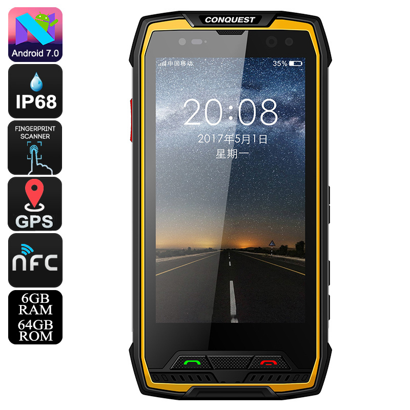 Conquest S11 Rugged Phone (64GB - Yellow)