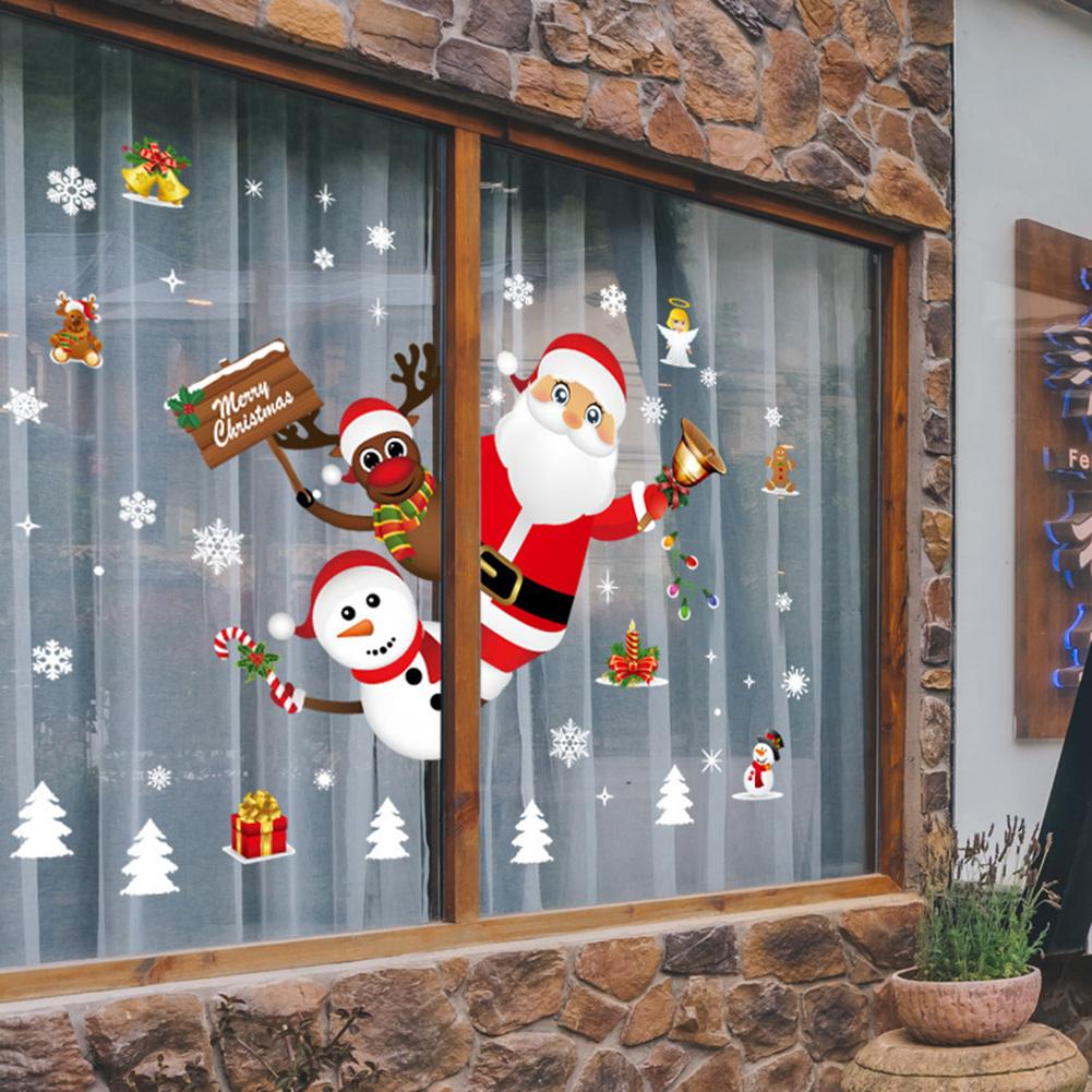 Christmas Santa Claus Removable Wall Stickers PVC Decals DIY Window Showcase Wallpaper 60*90cm