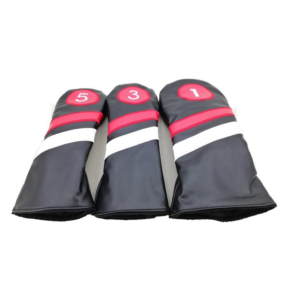 3pcs Golf Head Covers PU Leather 1 3 5 Driver Fairway Head Covers black