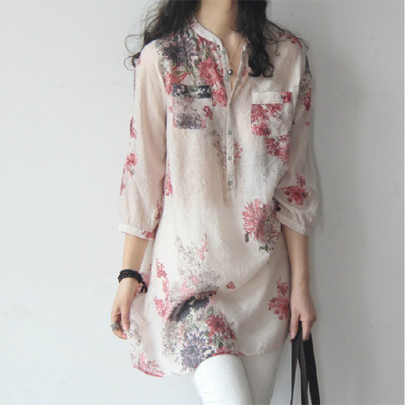 Women Large Size Cotton Linen Floral Printing Loose Shirt Red_XXL