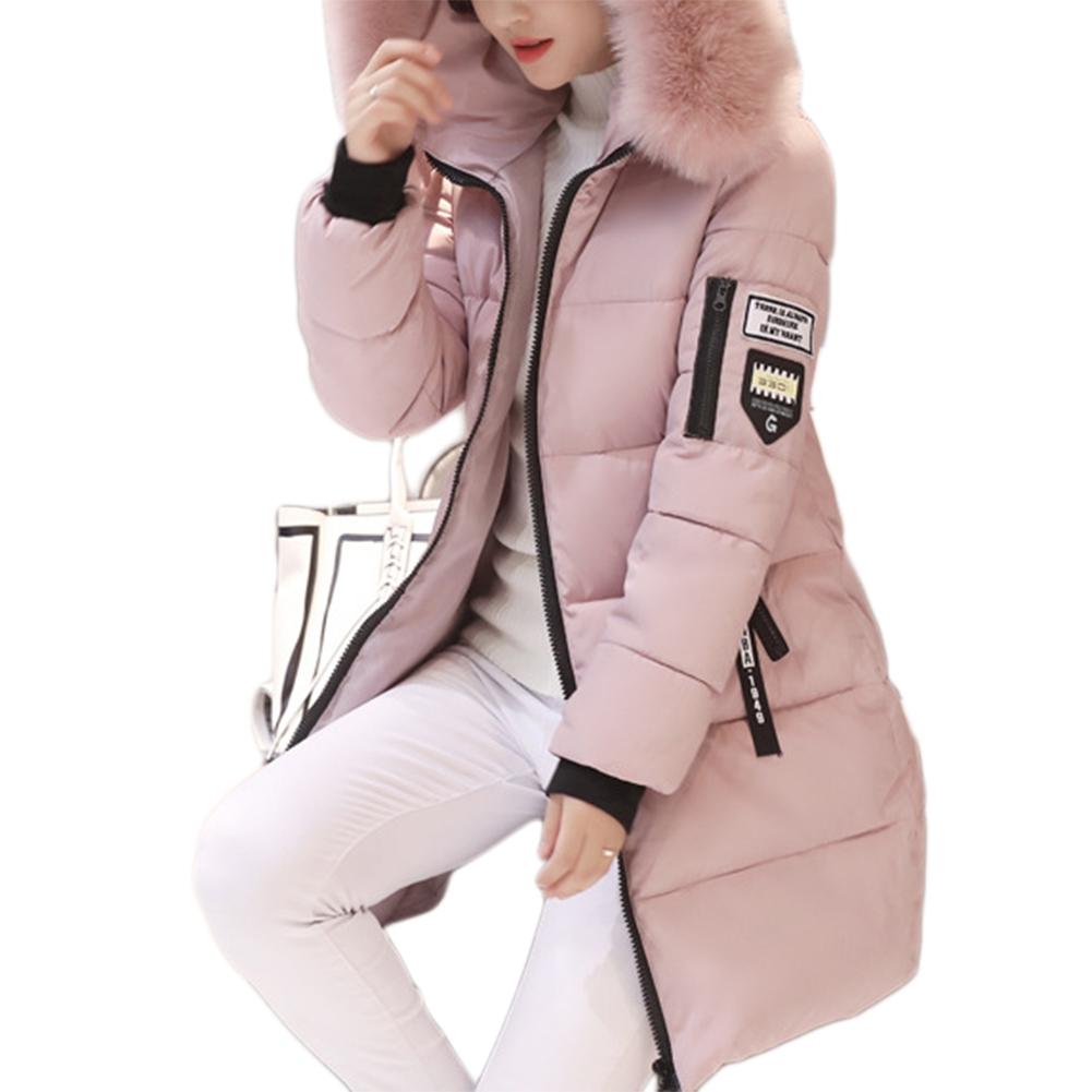 Women Long Fashion Style Slender Body Large Collars Cotton Down Jacket Warm Coat Pink_M