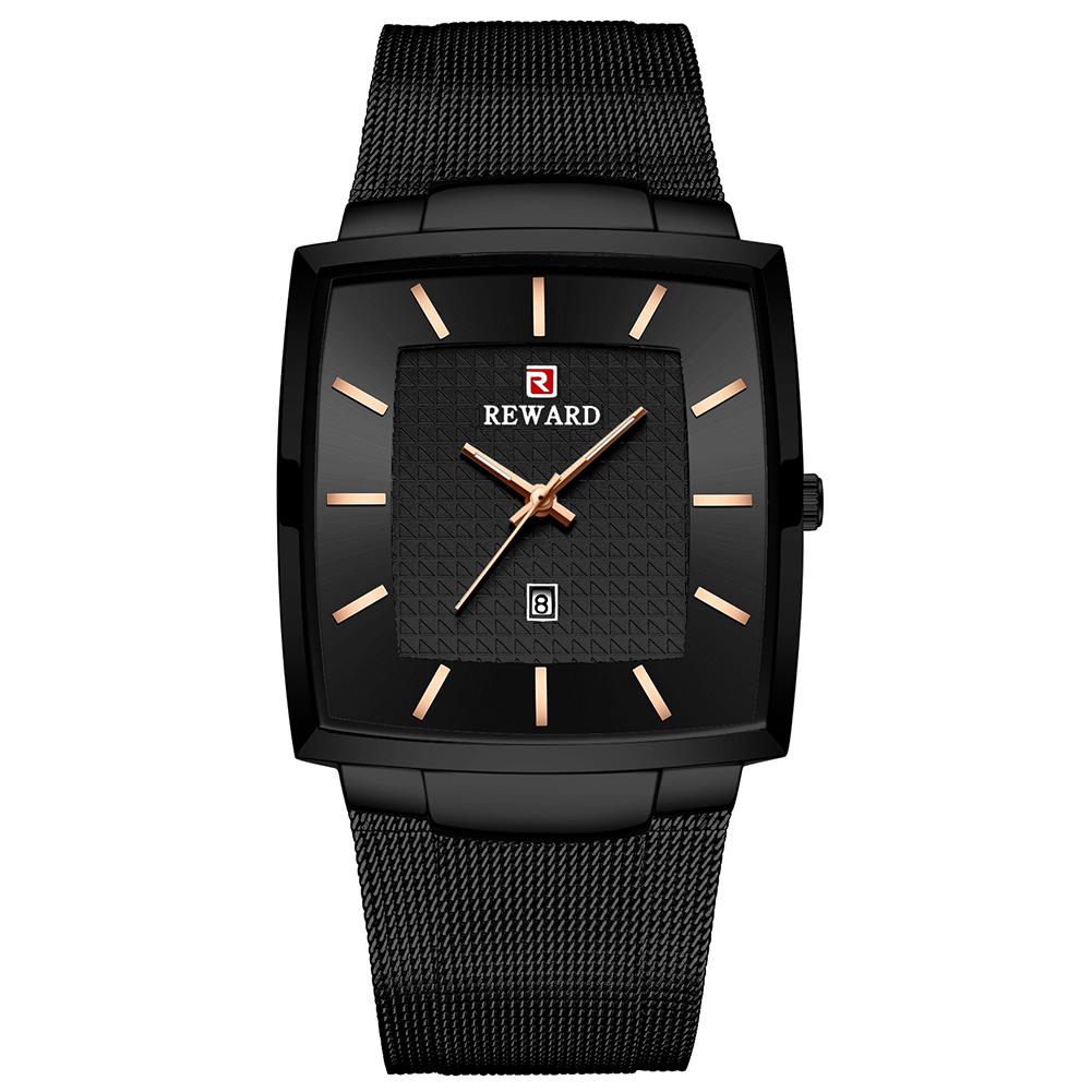 Business Wristwatch for Men Waterproof Square Watch Mesh Belt Quartz Watch black