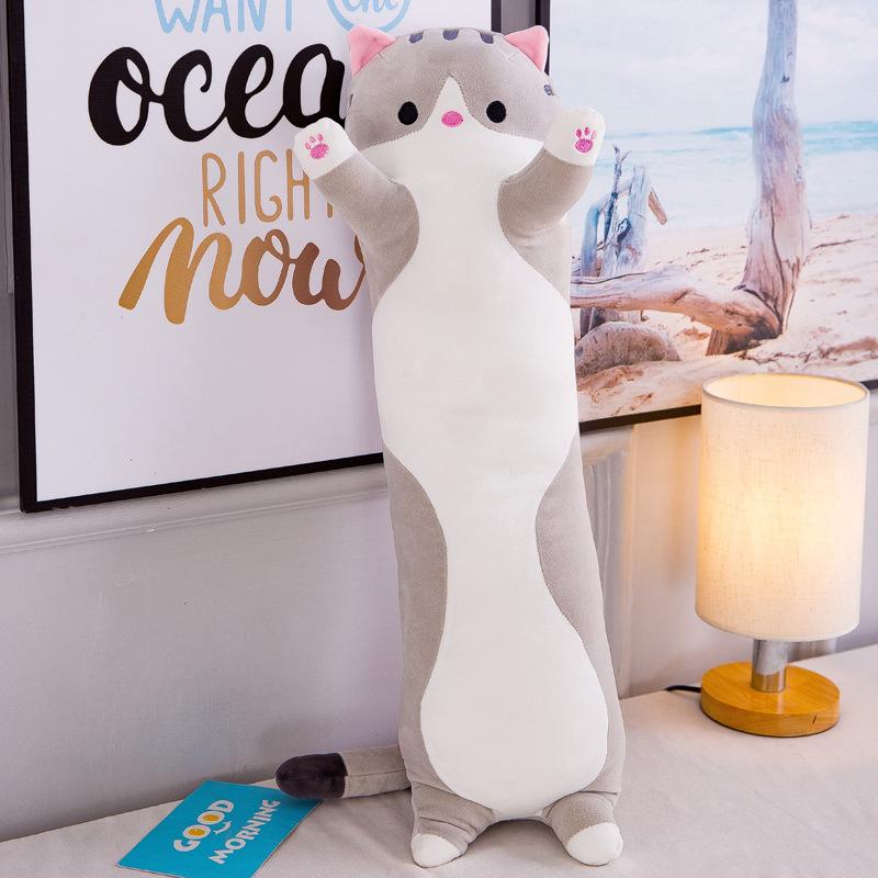 Sleeping Cat Hugging Pillow Plush Cat Doll Soft Stuffed Kitten Pillow Gifts for Kids Girlfriend Gray