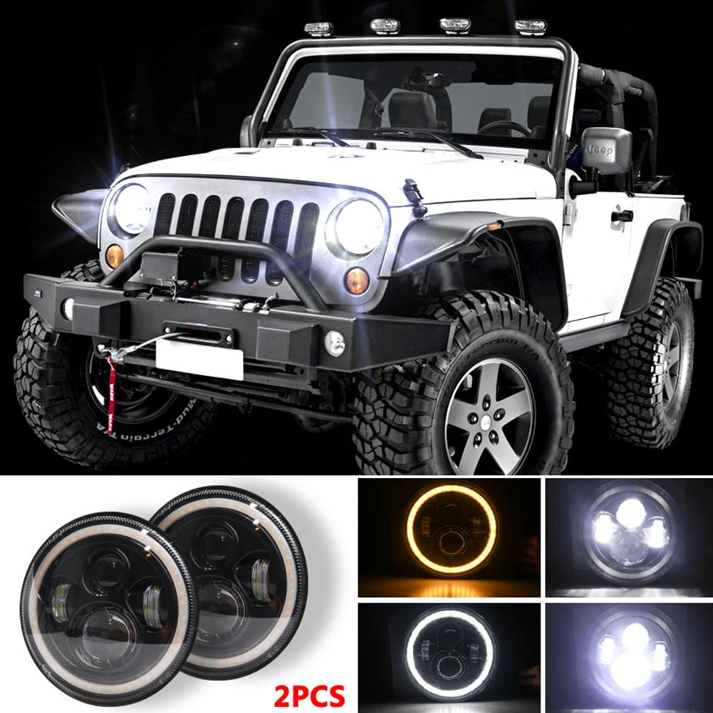 7 INCH 140W  LED Headlights Halo Angle Eye For Jeep Wrangler CJ JK LJ 97-17