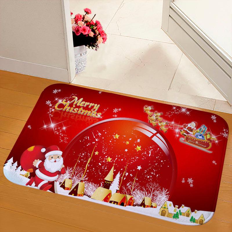 New Christmas Snowman Printed Soft Flannel Floor Mat Bathroom Anti Slip Mat Rug red_50*80cm
