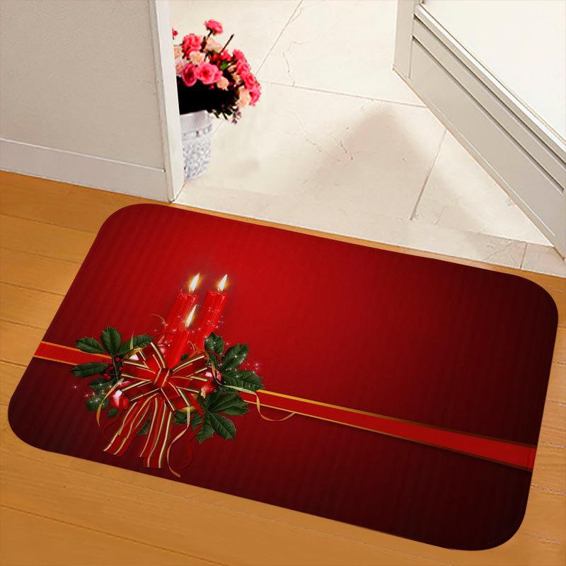 New Christmas Snowman Printed Soft Flannel Floor Mat Bathroom Anti Slip Mat Rug purple_40*120cm