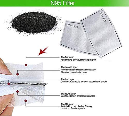 20/50/80/100pcs Mask Replacement Filters PM2.5 5 Layer Activated Carbon Filter Gasket 50pcs