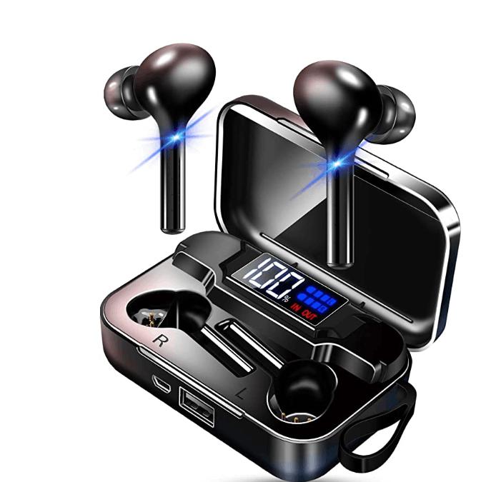 K18 Wireless Bluetooth  5.0  Earphones Portable Sports Earphones With Led Digital Display Charging Box black