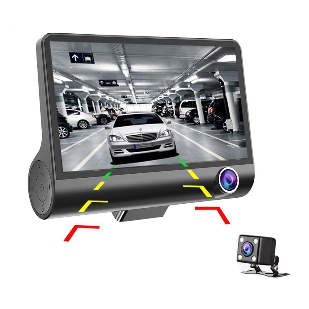 4'' 1080P 3 Lens Car DVR Dash Cam 170° Vehicle Video Recorder Rearview Camera  black
