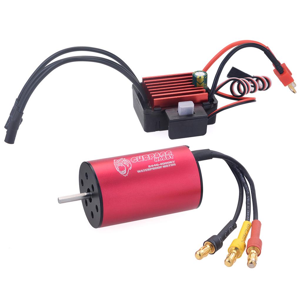 Surpass Hobby 2440 4000kv Brushless Motor + 35A Brushless Speed Controller ESC Waterproof 2S For 1/16 RC Car red