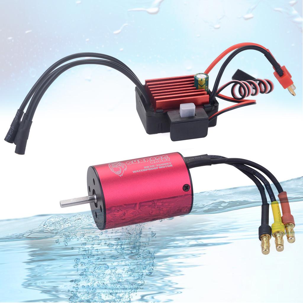 Surpass Hobby 2838 3600KV Brushless Motor + 35A Brushless Speed Controller ESC Waterproof 2S 3S For 1/16 RC Car  red