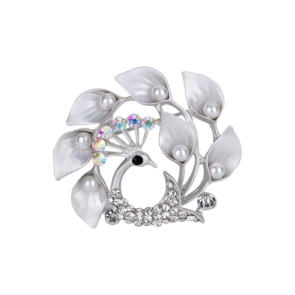 Delicate Peacock Rhinestone Studded Breastpin Elegant Jewellery Brooches Scarf Button Christmas Gifts for Women Girls
