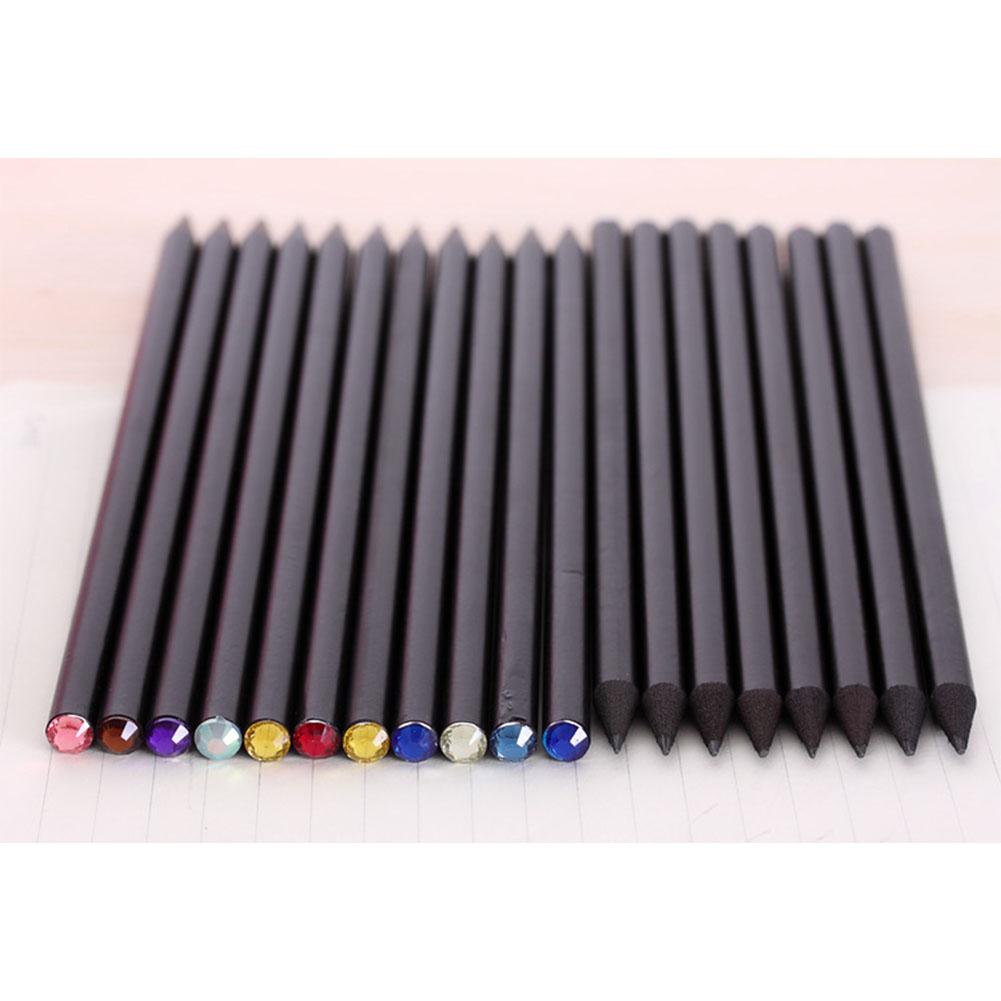 12 Pcs HB Black Wooden Pencils Inlaid Colorful Shimmer Rhinestone Pencils Set Black wooden pole hb