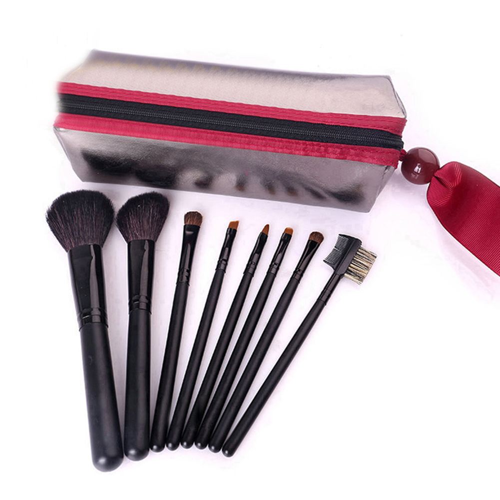 8pcs Mini Professional Makeup Brushes Portable Cosmetic Brushes Sets with Leather Bag