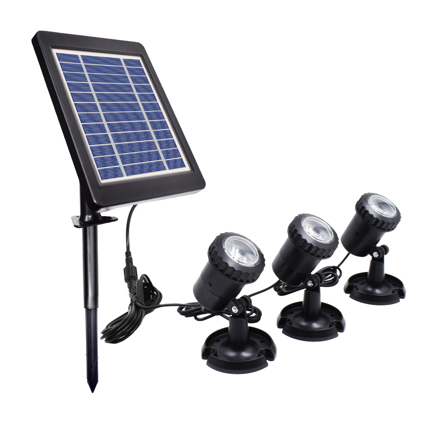3-in-1 LED Light Solar Powered Landscape Spotlight Projection for Garden Pool Lawn Warm White_3 in 1