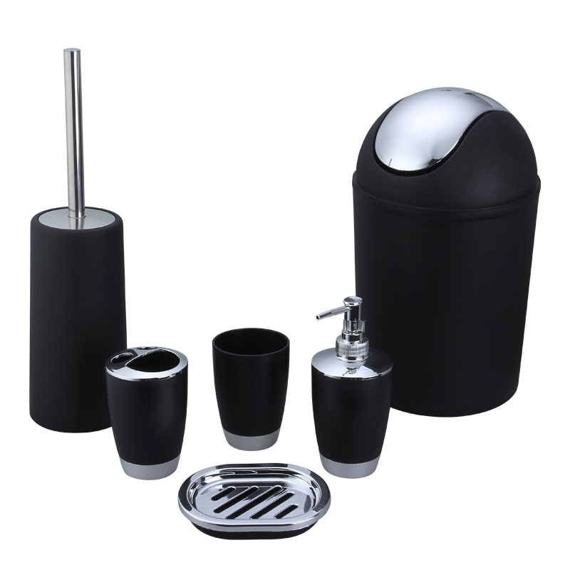 6Pcs/Set Trash Can Toilet Brush Liquid Dispenser Soap Box Cup Toothbrush Holder Set for Bathroom black