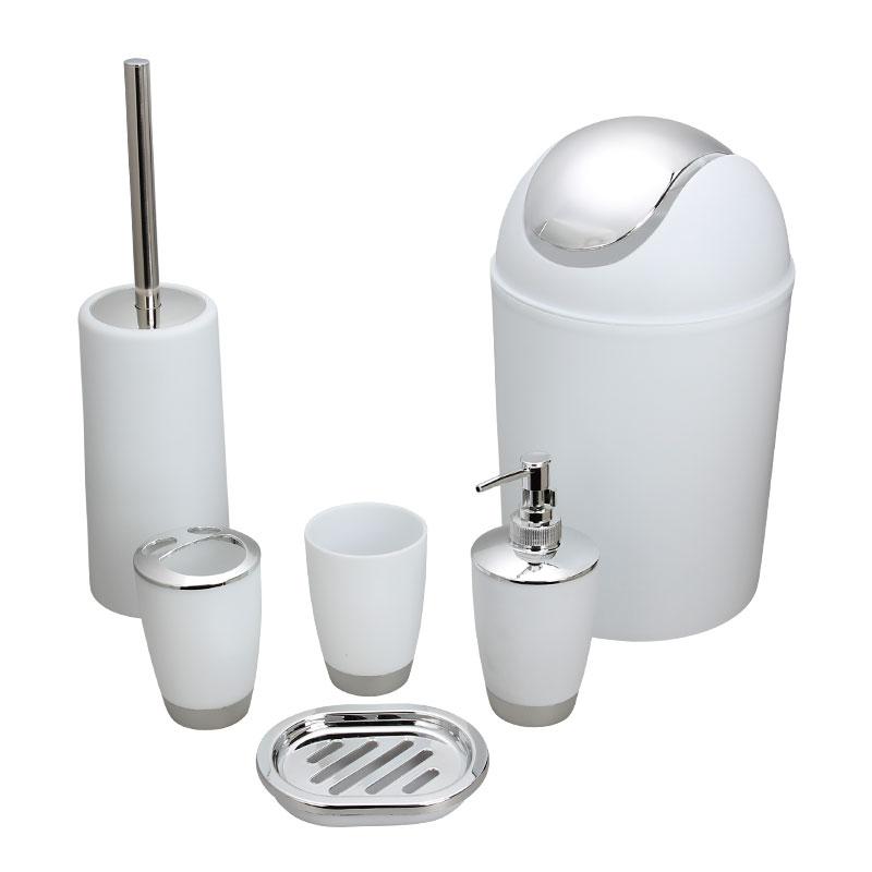 6Pcs/Set Trash Can Toilet Brush Liquid Dispenser Soap Box Cup Toothbrush Holder Set for Bathroom white