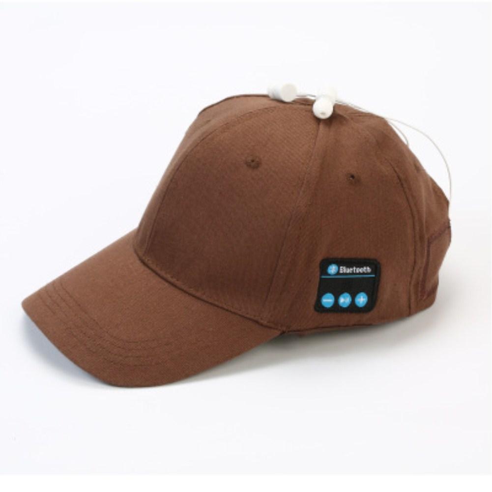 Wireless Bluetooth Earphones Sport Music Cal Baseball Cap Ourdoor Headset Brown