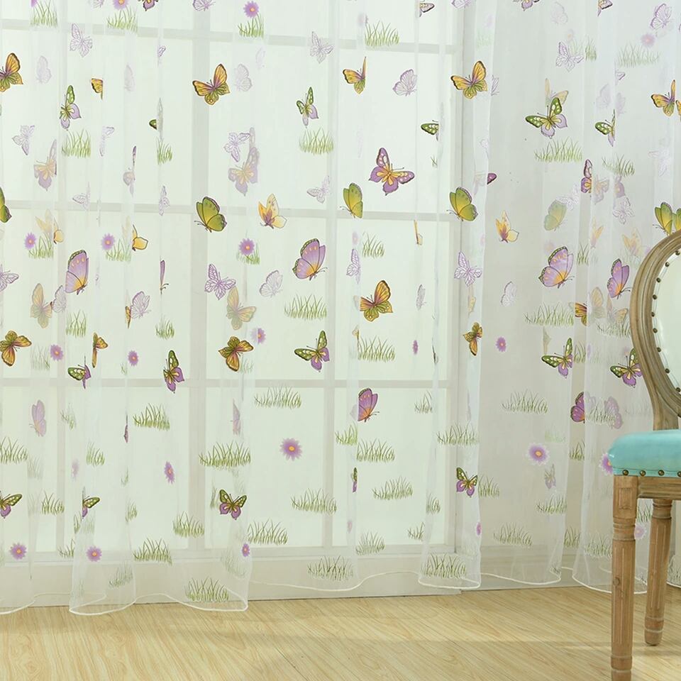 1PCS Romantic Colourful Butterfly Window Gauze Organza Curtain Drape for Home Hotel Decoration (Unwashable) 100X270CM wearing rod