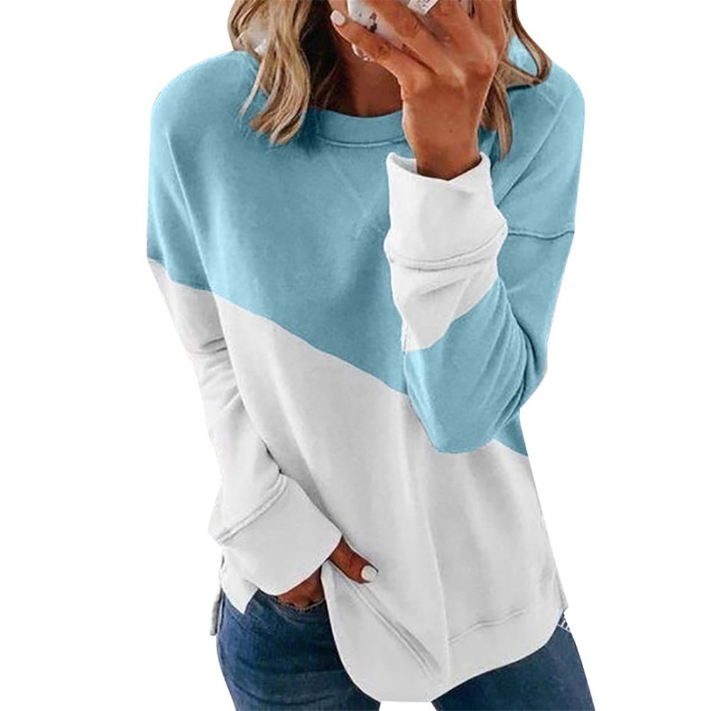 Women's Hoodie Autumn Casual Crew-neck Contrast Stitching Loose Hooded Sweater blue_2XL