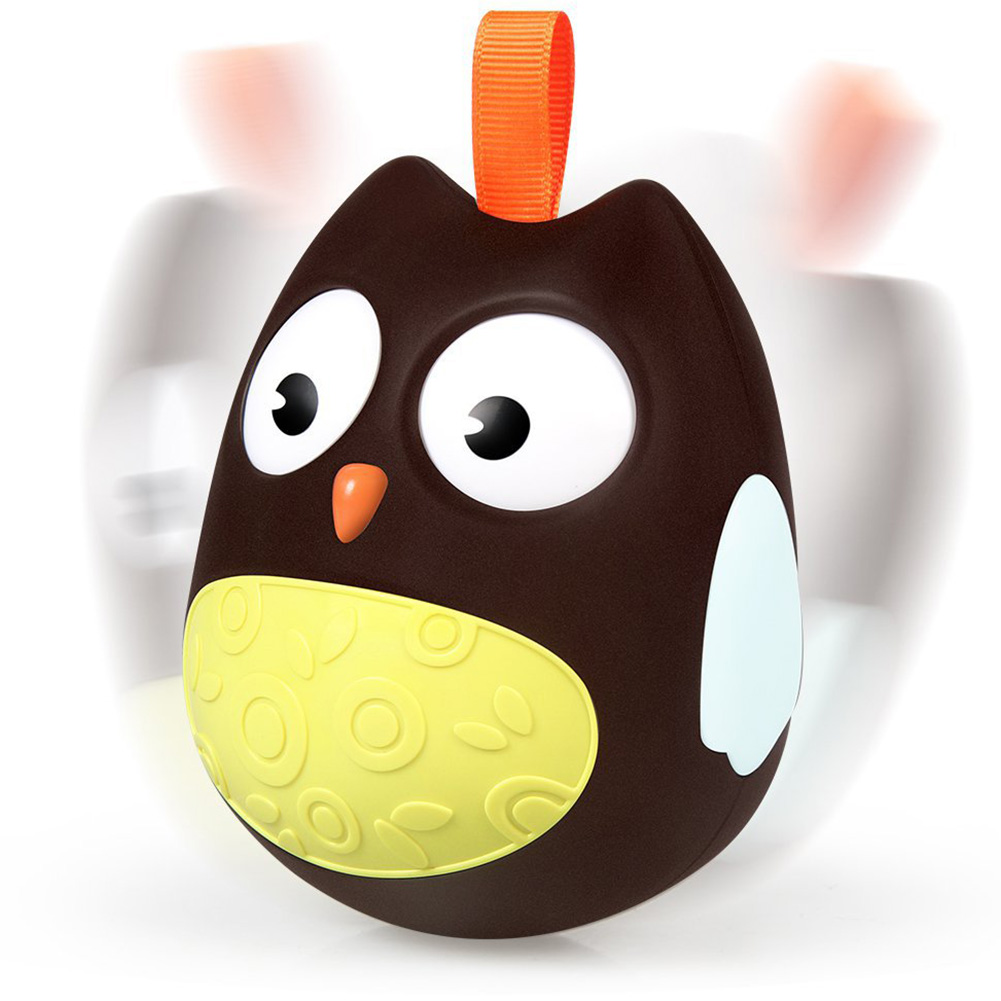 Baby Cute Owl Tumbler Nodding Eyes Doll Rattles Bell Toys as Xmas Gifts for Kids brown