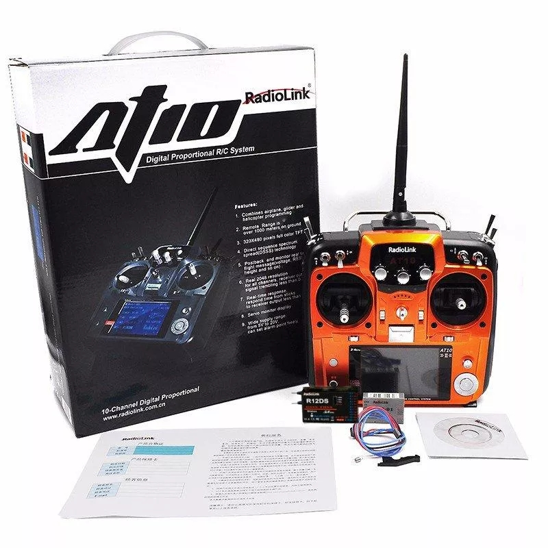 Radiolink AT10II 12CH RC Transmitter and Receiver R12DS 2.4GHz DSSS&FHSS Spread Radio Remote Controller for RC Drone/Fixed Wing/Multicopters/Helicopter - Left Hand Throttle Orange
