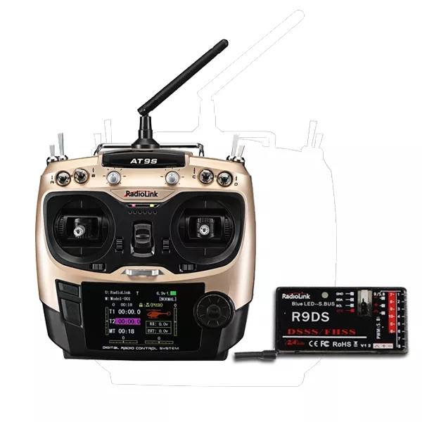 RadioLink AT9S 2.4GHz 10CH Upgrade Transmitter with R9DS DSSS&FHSS Receiver Gold