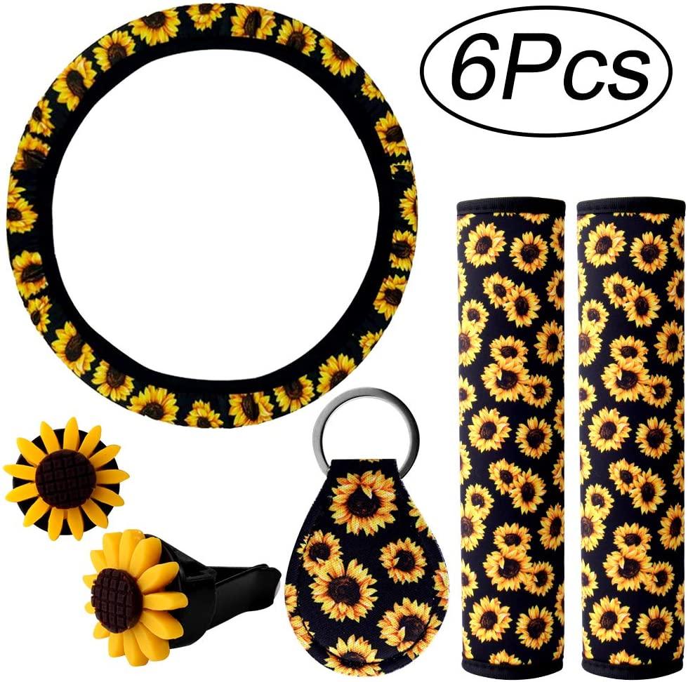 6PCS Sunflower Steering Wheel Cover Sunflowers KeyringCar Vent Seat Belt Cover