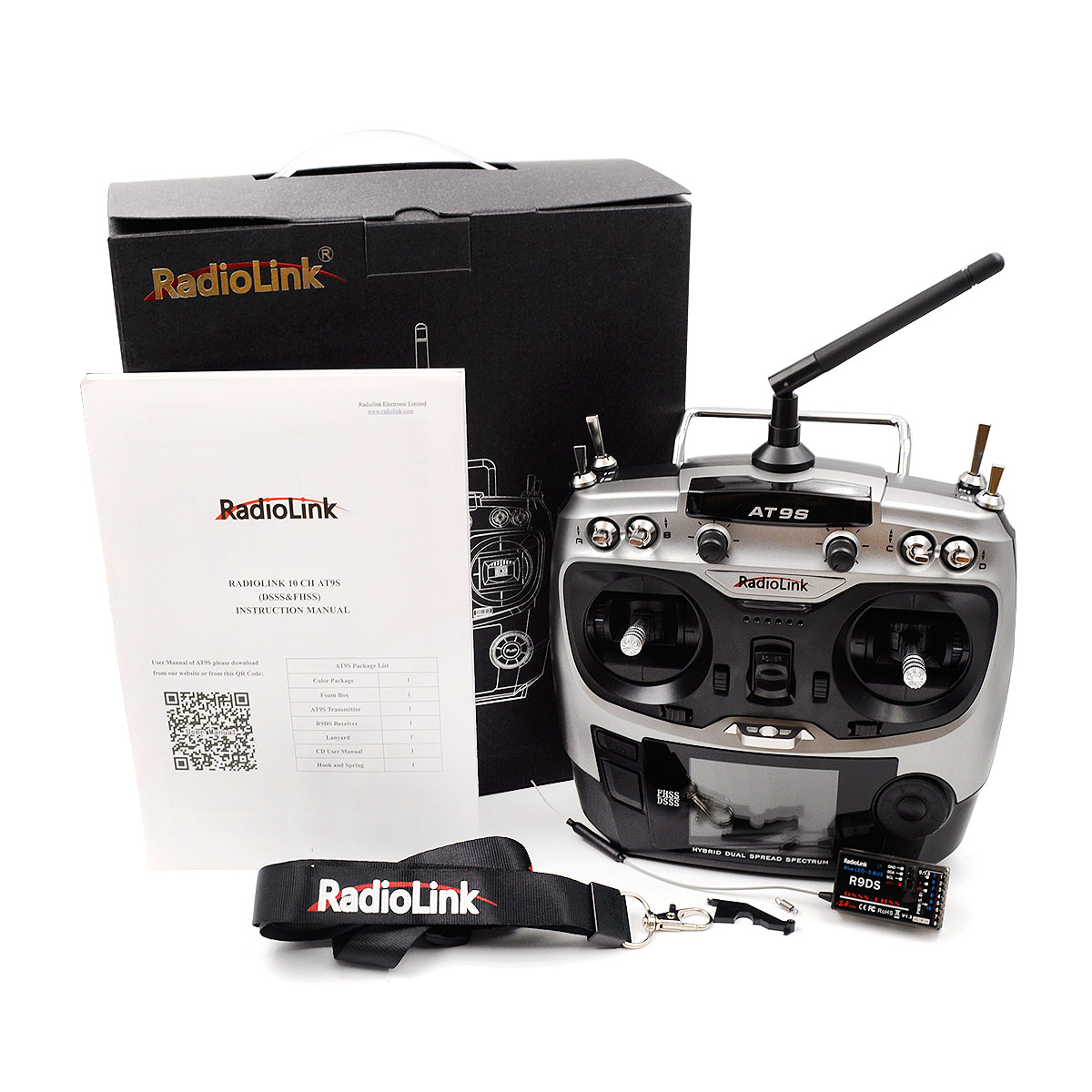 RadioLink AT9S 2.4GHz 10CH Upgrade Transmitter with R9DS DSSS&FHSS Receiver Silver