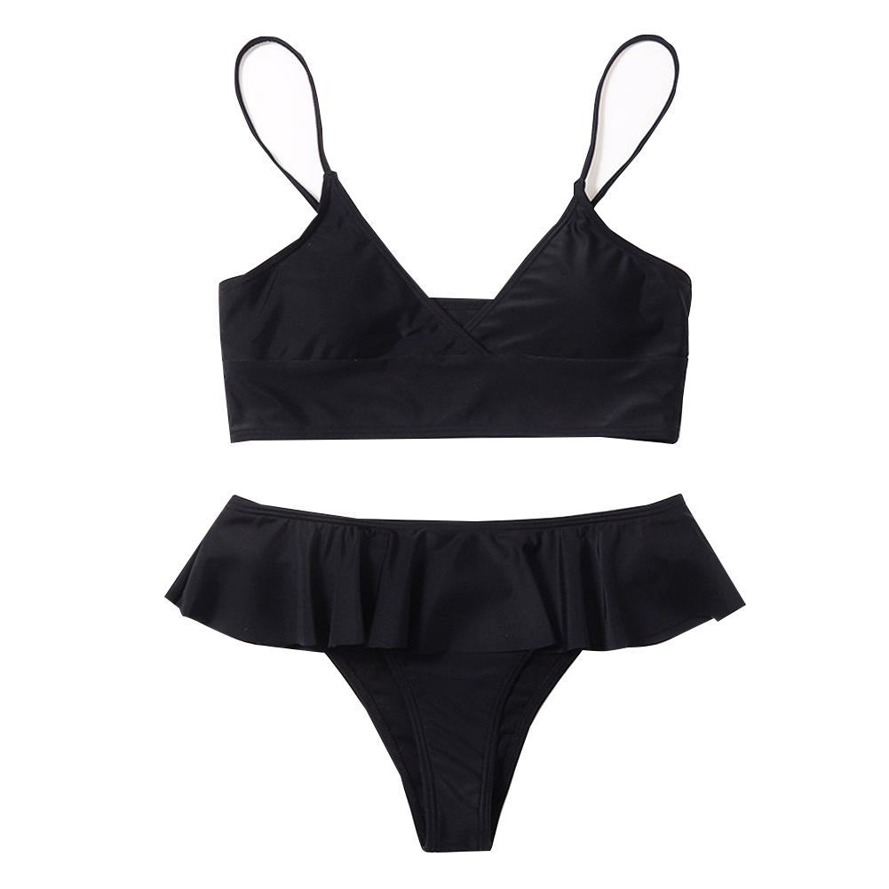 2pcs Women Solid Color Swimsuit Split Bikini Backless Swimwear Sexy Ladies Swimwear Black_M