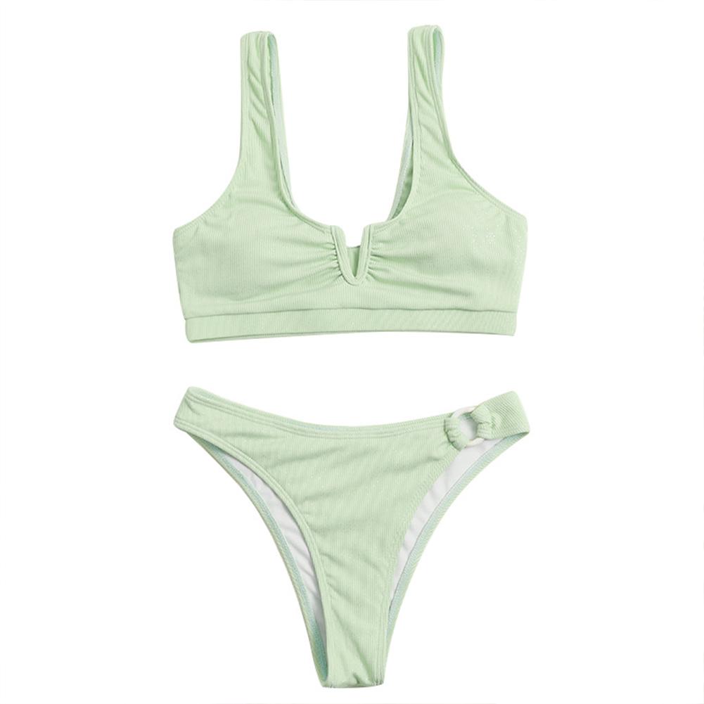 2pcs Women Split Swimsuit Solid Color Striped Fabric Backless Sexy Ladies Bikini Green_L