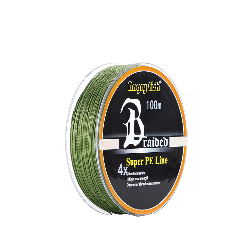 ANGRYFISH Diominate PE Line 4 Strands Braided 100m/109yds Super Strong Fishing Line 10LB-80LB Army Green 0.6#: 0.12mm/15LB