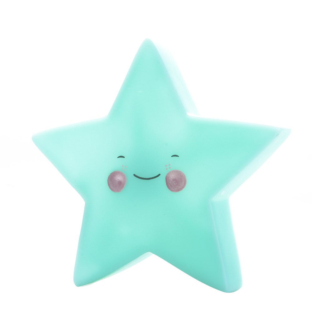Cute Star Smile Face Soft Vinyl LED Night Light Toy for Baby Kids Bedroom Home Decoration Nursery Lamp